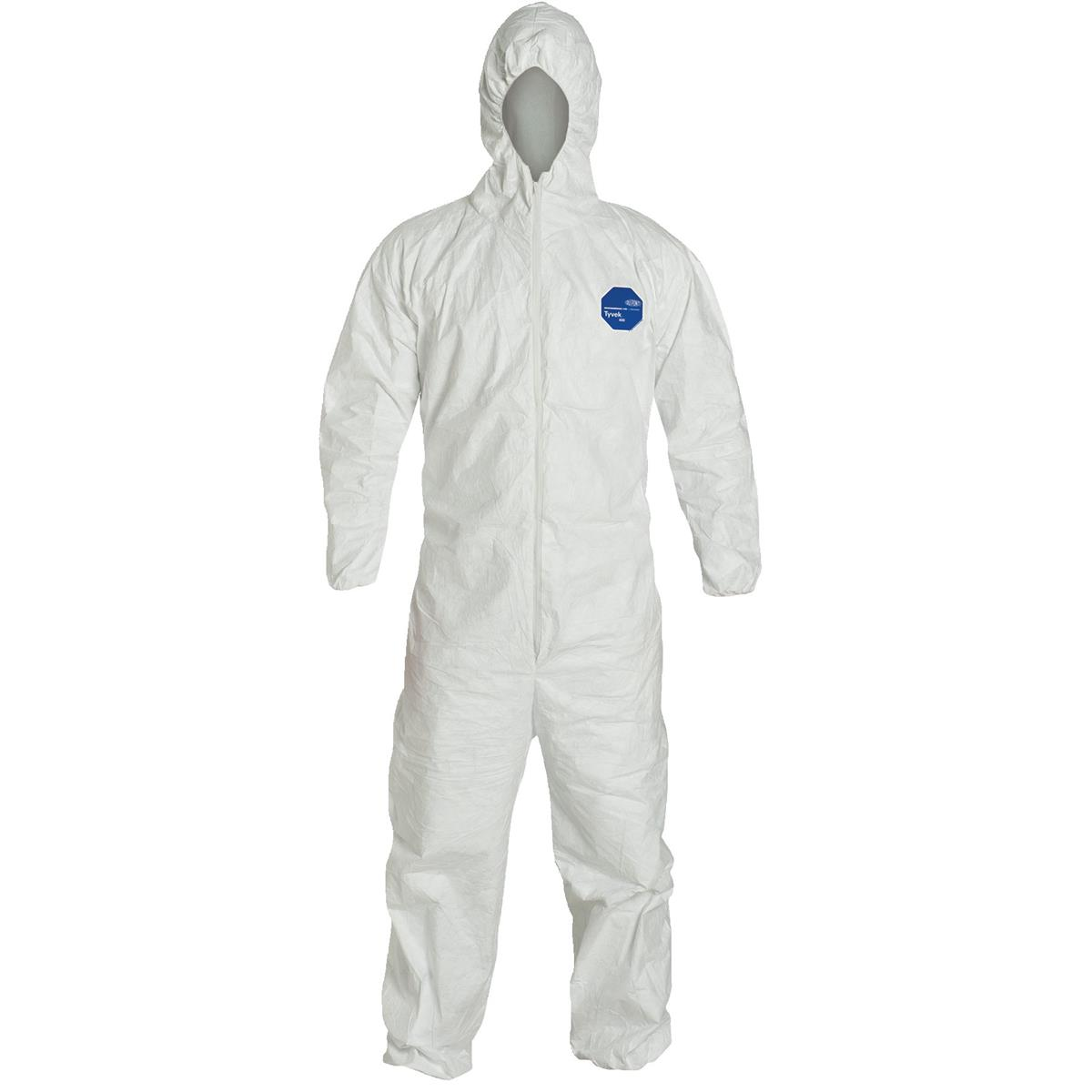 Tyvek Coverall with Hood and Boots, Elastic Wrists/ XL/ 25 Case
